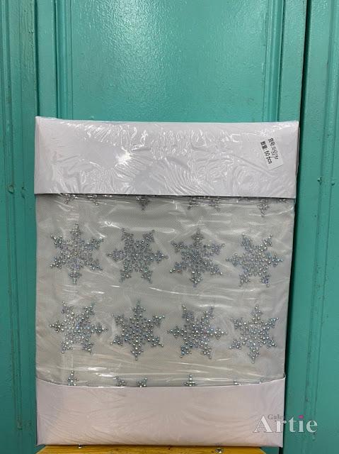 Pelekat hotfix sticker rhinestone DMC aplikasi tudung bawal fabrik pakaian corak snowflake
