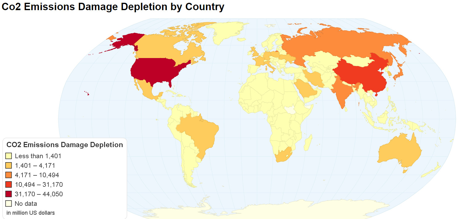 CO2 Emissions Damage Depletion by Country