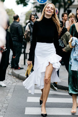 white ruffles skirt