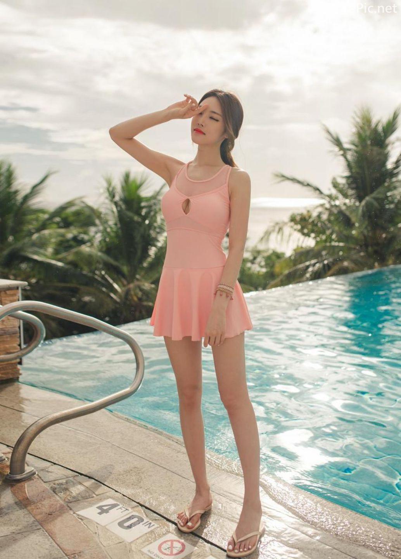 Korean model fashion - Park Jeong Yoon - Amanda One Piece Swimsuit - Picture 2