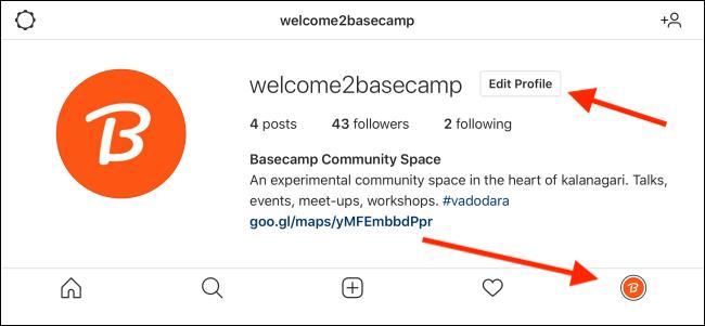 اضغط على زر تعديل الملف الشخصي من ملفك الشخصي على Instagram