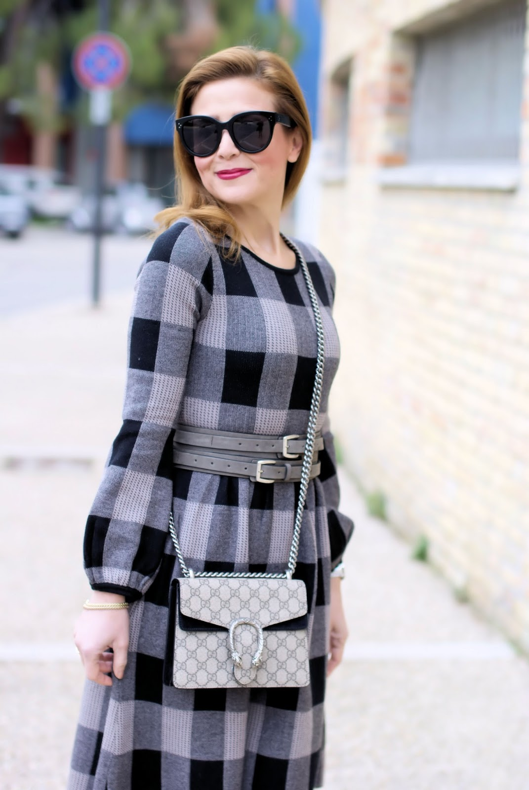Winter dress outfit idea with check dress on Fashion and Cookies fashion blog, fashion blogger style