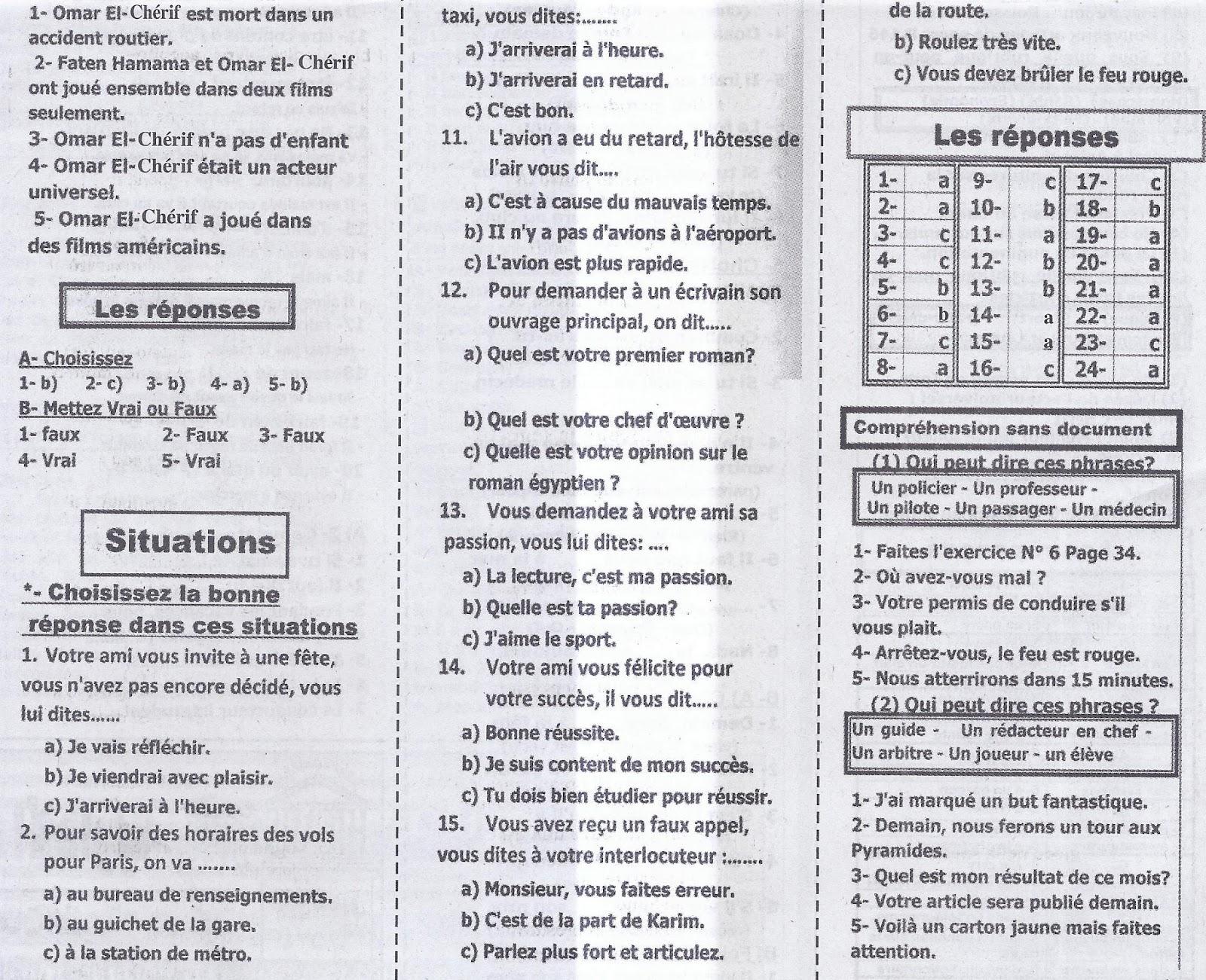 أهم أسئلة اللغة الفرنسية المتوقعة لامتحان الثانوية العامة 2016 بالاجابات  7