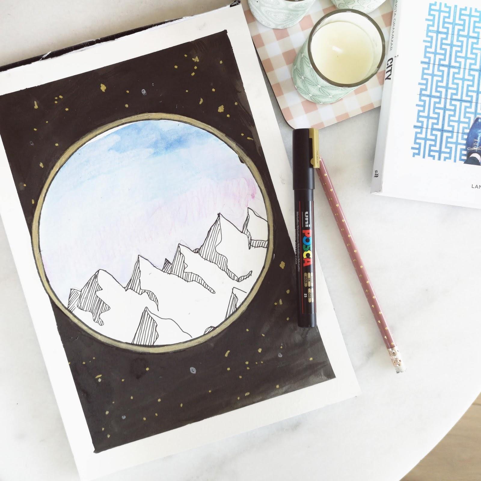 Rust in de bergen | Aquarel potloden, Chinese inkt en Posca pennen