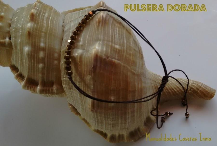 Manualidades Caseras Fáciles Inma Pulsera hilo con abalorios dorados