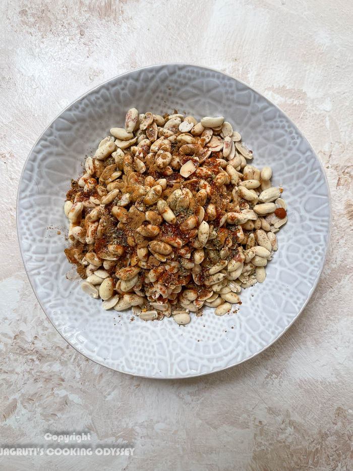 How to Mexican air fryer roasted peanuts step 2 seasoning oil added to the peanuts
