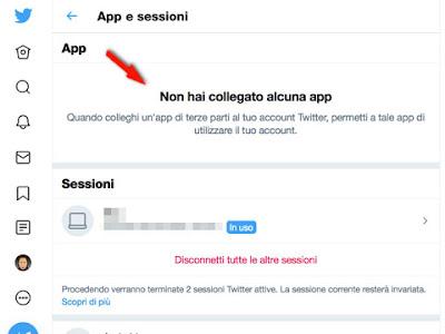 Impostazioni di sicurezza account Twitter: disattivare app che hanno accesso
