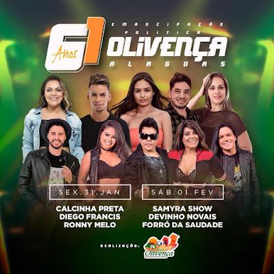 Calcinha Preta, Samyra Show e  Devinho Novaes estão entre as atrações de 61 anos de Emancipação Política de Olivença/AL