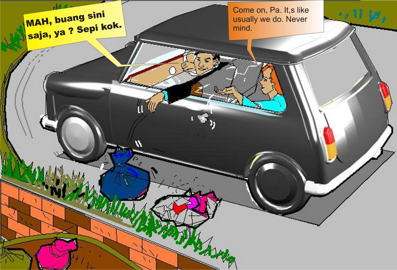 Kumpulan Gambar Kartun Orang Buang Sampah Seribu Animasi