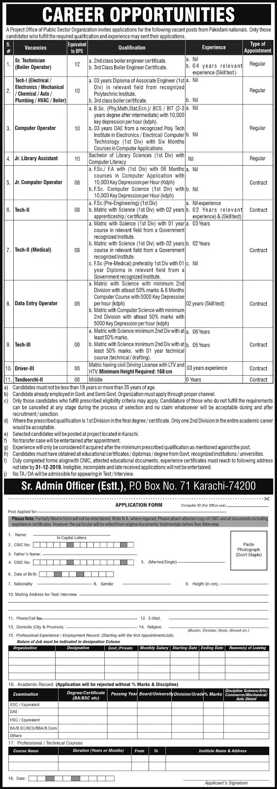 Public Sector Organization Management Posts Karachi 2019 Latest