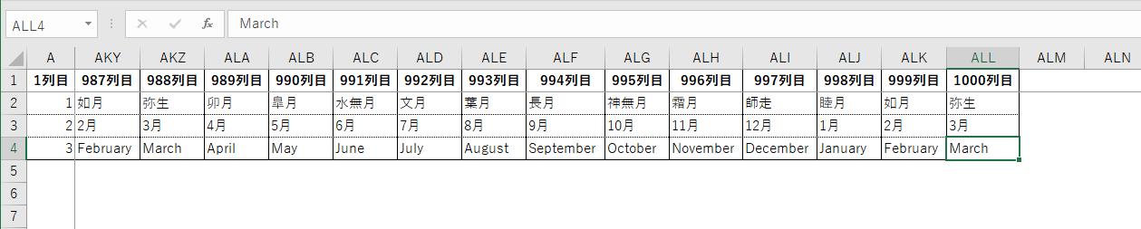 1,000列のExcelファイル