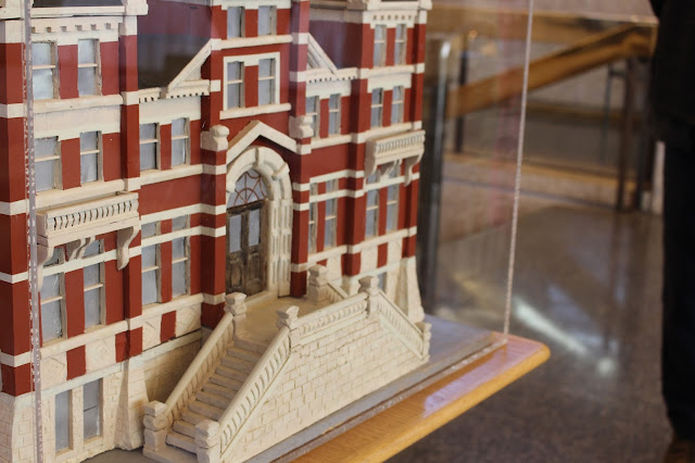"""Photo of the model of the """"gingerbread"""" City Hall (1886-1962), found on the second floor of the current City Hall. Photo courtesy of Megan Redmond."""