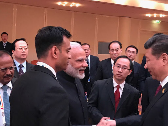 At d BRICS leaders' informal gathering @ Hamburg hosted by China, PM @narendramodi and President Xi