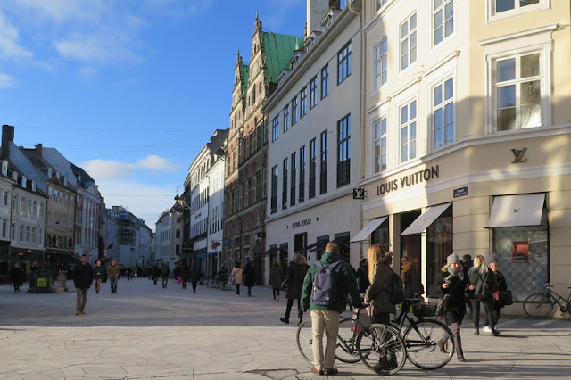 Strøget, Copenhagen's main pedestrianised shopping street, home to Illums Bolighus and HAY House