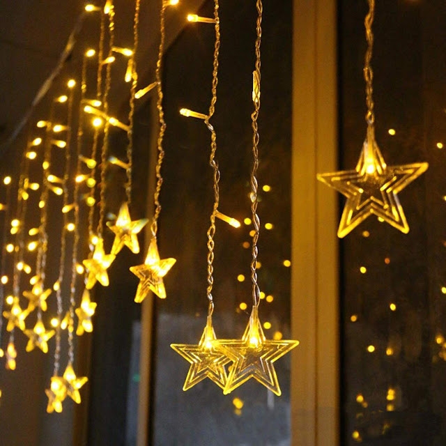 TIED RIBBONS 138 LED 10 Stars 8 Flashing Modes Stars Shape Curtain String Lights - Decorative Diwali String Lights for Diwali Lighting Decoration