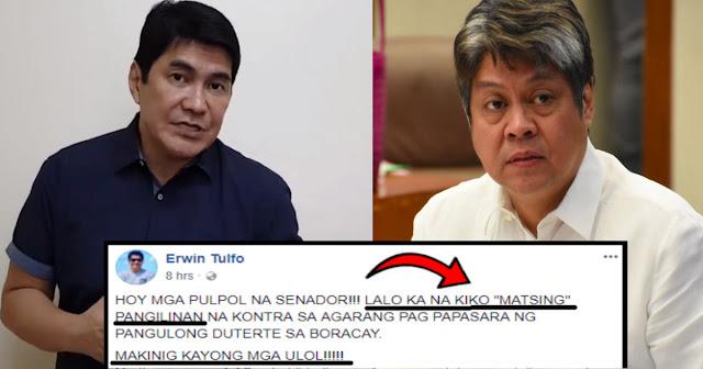 Erwin Tulfo kay Kiko: ngawngaw kananaman hindi mo ginamit utak mo!