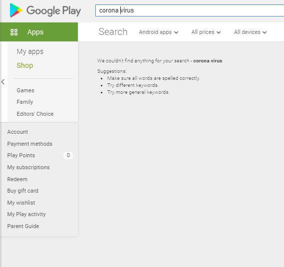 نتائج البحث عن corona virus على متجر جوجل بلاي