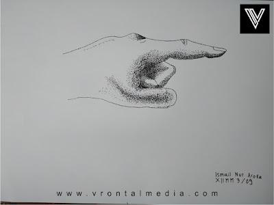 contoh gambar pointilis tangan