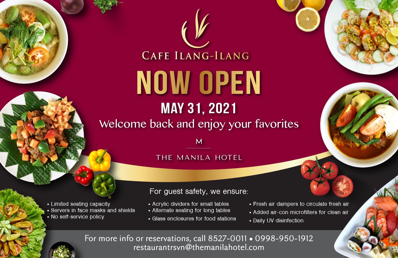 The Manila Hotel's Café Ilang-Ilang opens doors to diners.