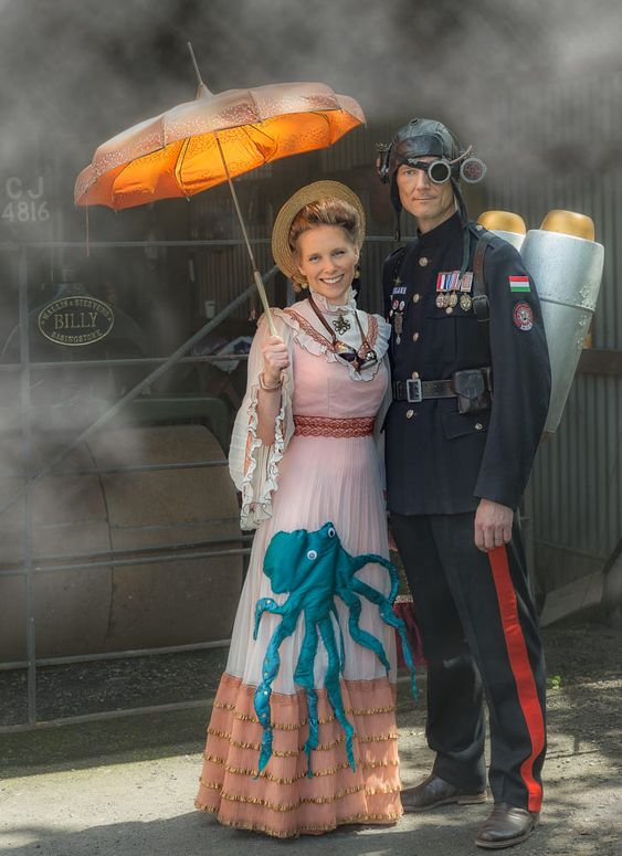 Steampunk couple at Blists Hill - Man and woman in steampunk costume