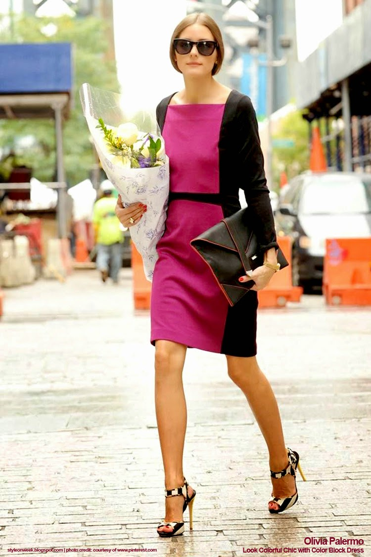 Celebrity Street Style - Olivia Palermo Look Colorful Chic with Color Block Dress