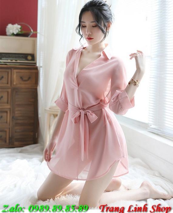 Đầm ngủ sơ mi trong suốt sexy