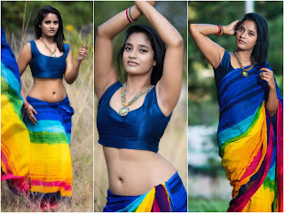 Soumya Shetty Hot And Sexy Photos in Saree