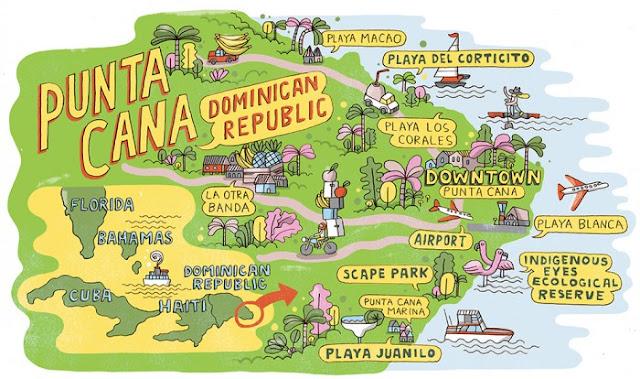 Carte des plages de Punta Cana en République Dominicaine : playa macao, playa del corticito, los corales, playa blanca, juanilo