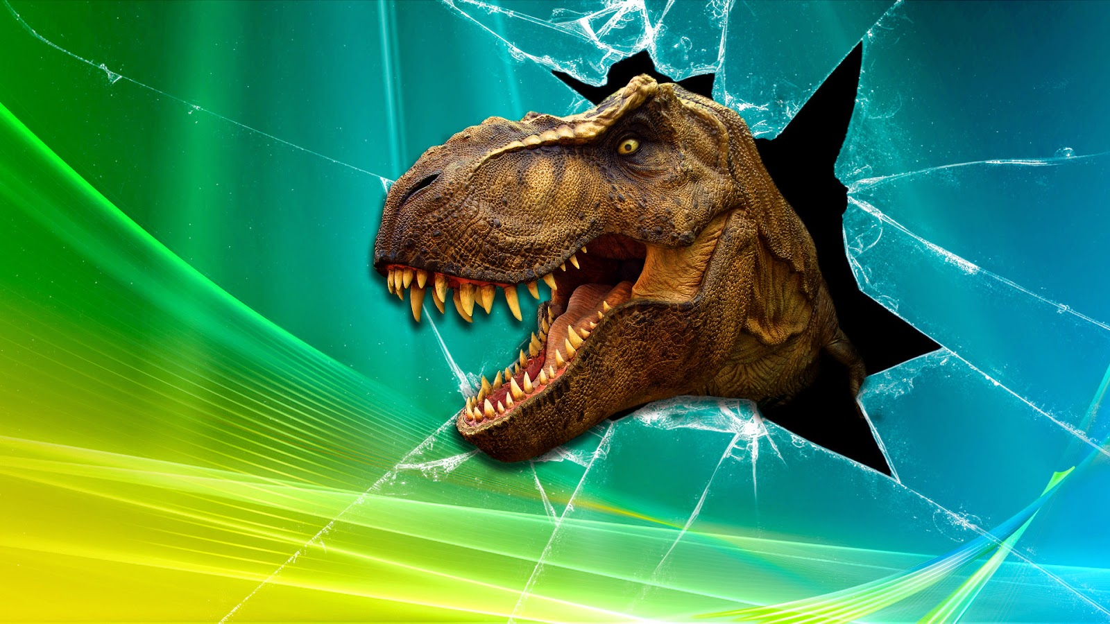 T-Rex bursting through a monitor screen