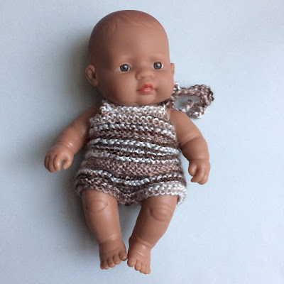 Cutie baby Miniland Dolls in Shorties in handmade playsuit