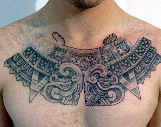 Aztec Chest Tattoo men