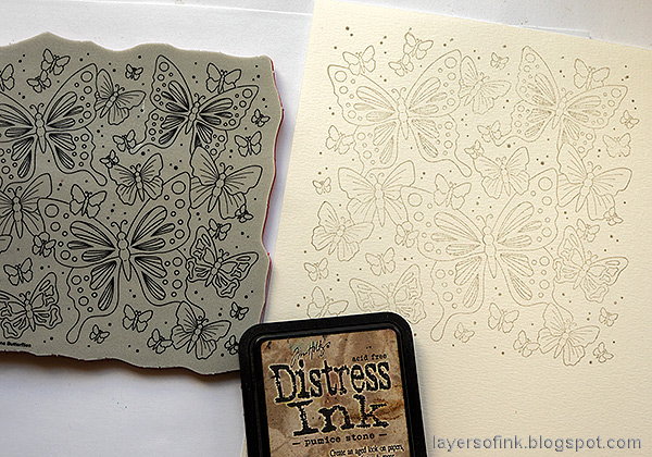 Layers of ink - Watercolor Butterflies Art Journal Page by Anna-Karin Evaldsson. Stamp the butterflies with Pumice Stone.