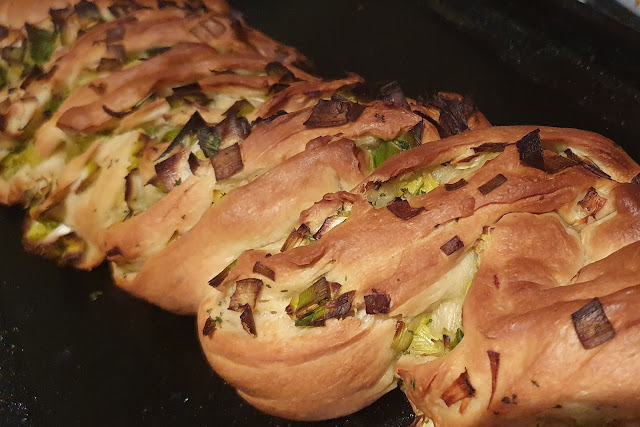 British Leek and garlic twist bread fresh out of the oven