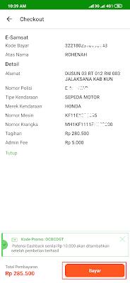 bayar pajak motor dari tokopedia