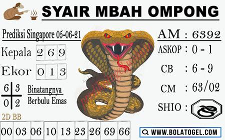 Syair Mbah Ompong SGP Sabtu 05-06-2021