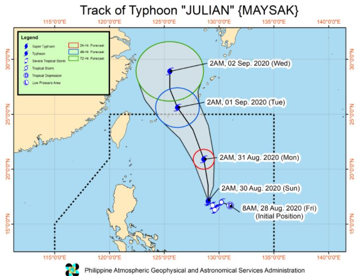 'Bagyong Julian' PAGASA weather update August 30, 2020