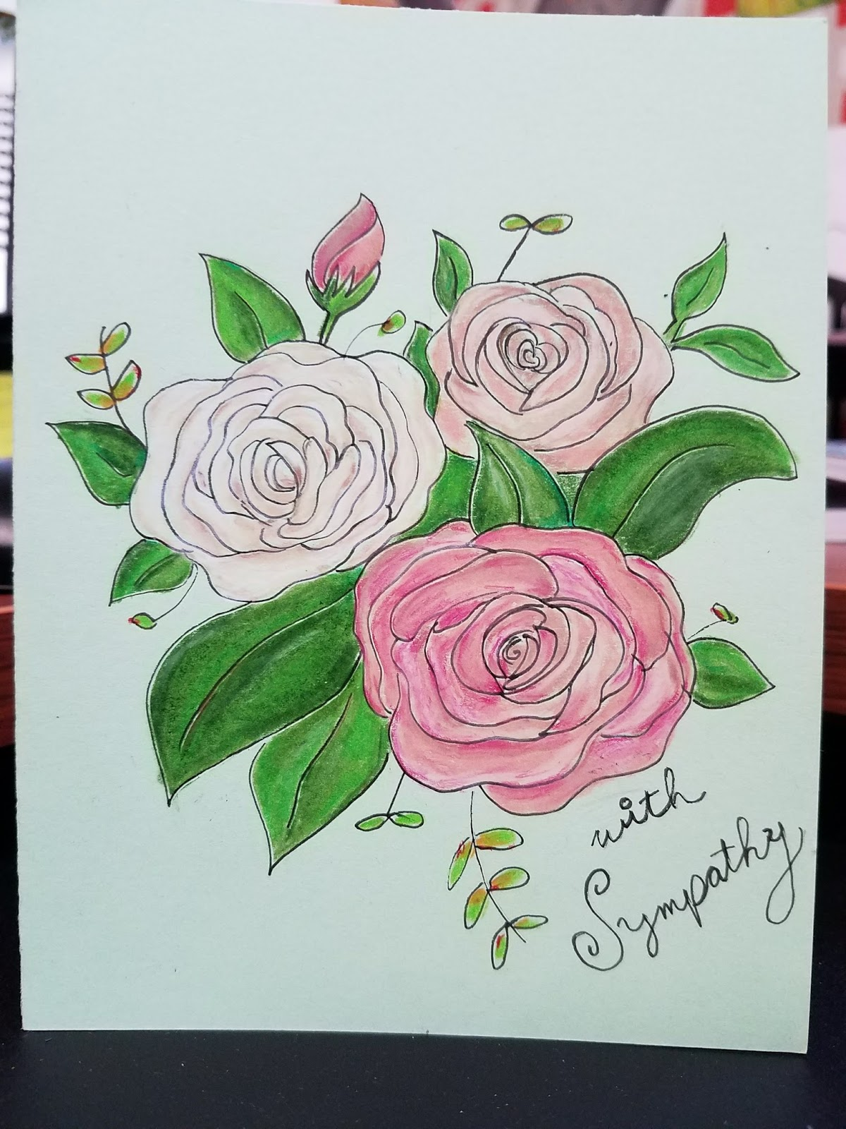 Debbie dots greeting card blog sympathy flowers for janets sympathy card on the loss of her mother i did a drawing of white and pink roses on a light green background there really arent any words to izmirmasajfo