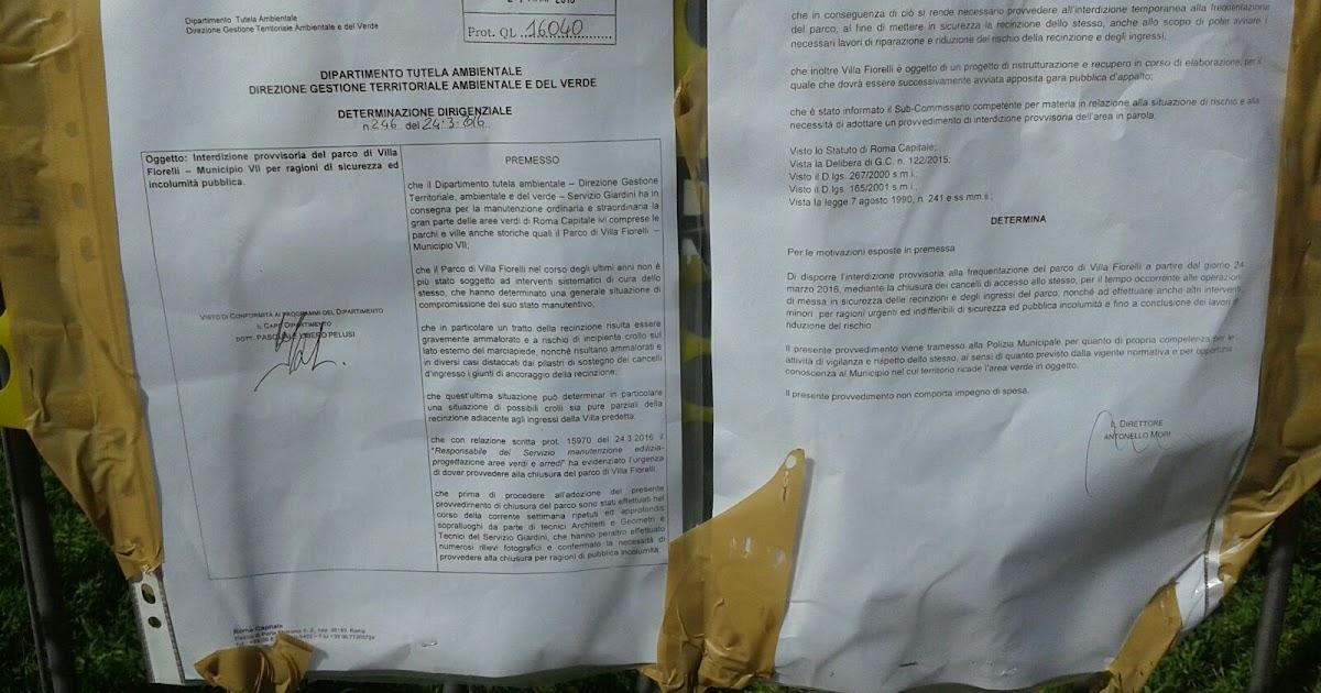 Blog del comitato di villa fiorelli la vergogna del vii for Ufficio decoro urbano roma