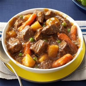 Come home to warm comfort food! This vegetable beef stew is based on my mom's wonderful recipe, but I adjusted it for the slow cooker. Add a sprinkle of Parmesan to each bowl for a nice finishing touch.