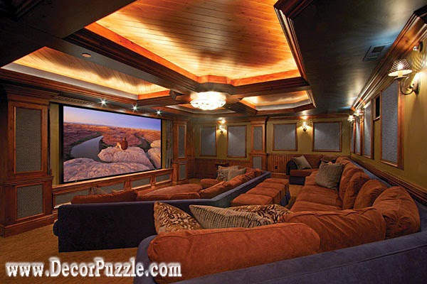 led ceiling lights for wood ceiling in living and cinema room