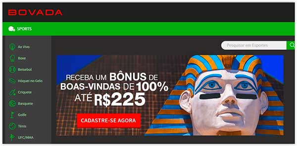 homepage do site de apostas Bovada