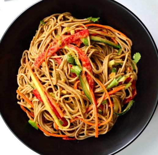 Sesame-Ginger Soba #vegetarian #noodles