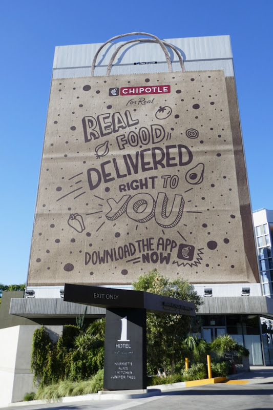 Giant Chipotle delivery paper bag billboard