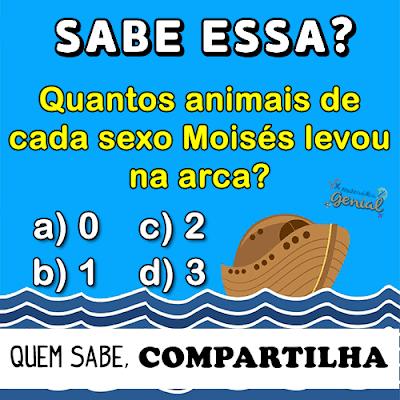 Quantos animais de cada sexo, Moisés levou para Arca?