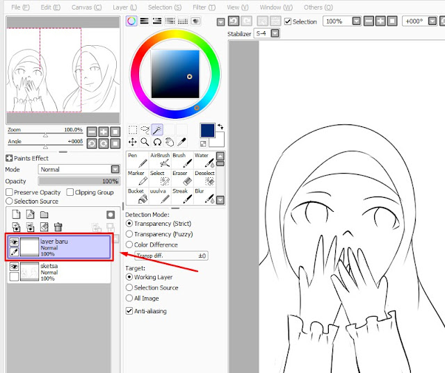 Cara Mudah Mewarnai Di Paint Tool SAI