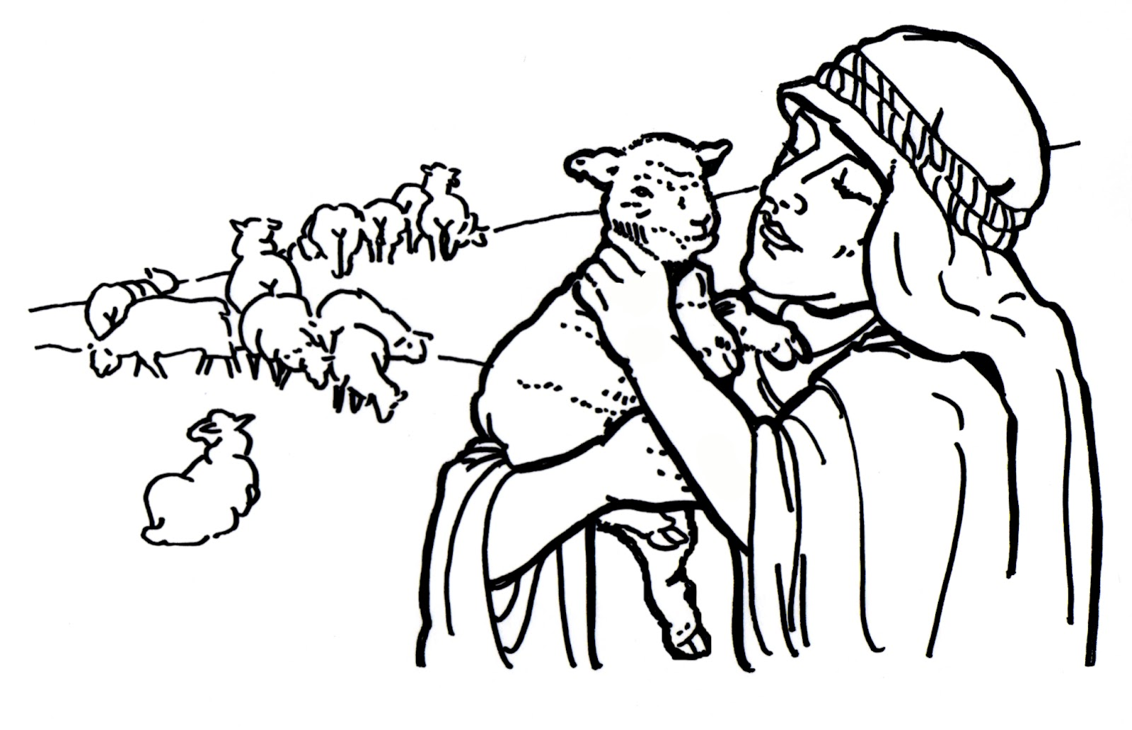 Good Shepherd and Lost Sheep Parable Coloring Pages