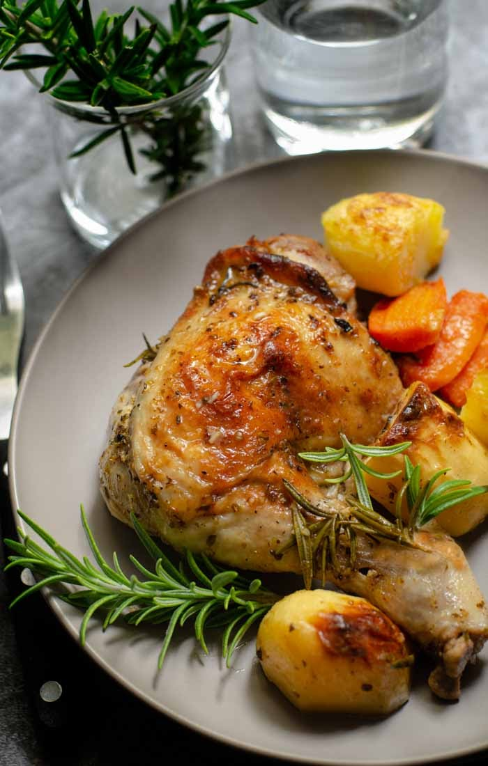 Baked greek style chicken with potatoes