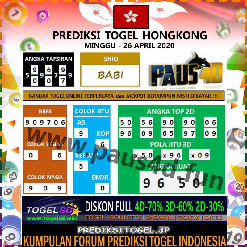 Prediksi HK Malam Ini 26 April 2020 - Prediksi Paus4D