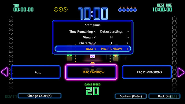 Screenshot of customisation options in PAC-MAN Championship Edition DX+