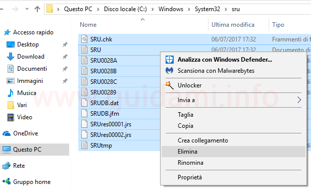 Eliminare file da cartella sru Windows 10